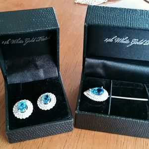 14k white gold Earrings and matching brooch